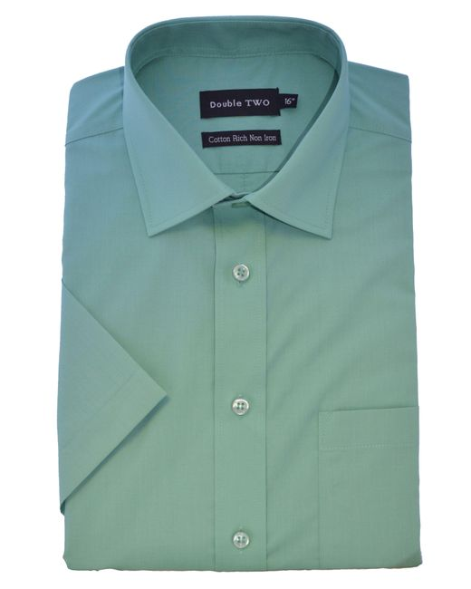 Double Two | Green Plain Cotton Short-sleeved Shirt for Men | Lyst