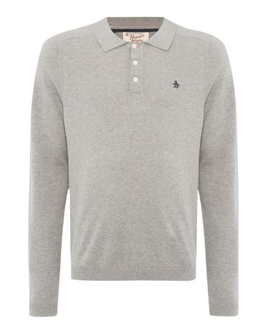 Original Penguin | Gray Long Sleeve Sweater Polo for Men | Lyst