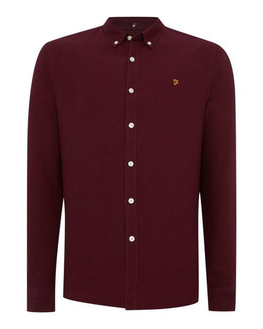 Farah | Purple Brewer Slim Fit Button Down Oxford Shirt for Men | Lyst