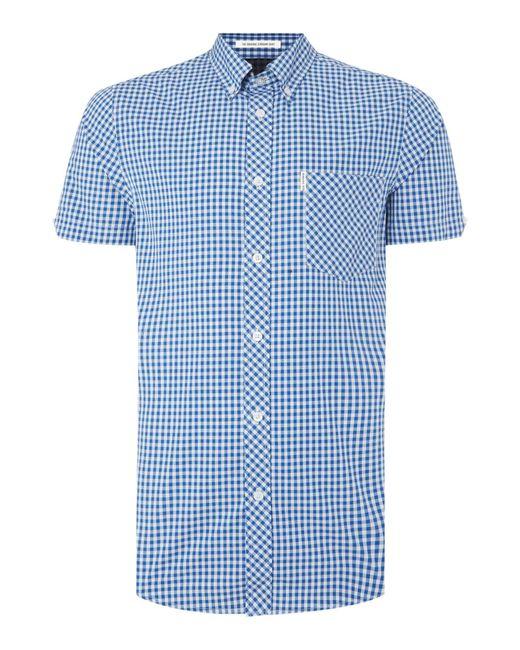 Ben Sherman | Blue Classic Gingham Check Short Sleeve Shirt for Men | Lyst