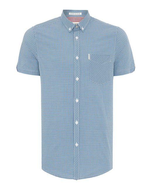 Ben Sherman | Blue Mini Mod Check Short Sleeve Shirt for Men | Lyst