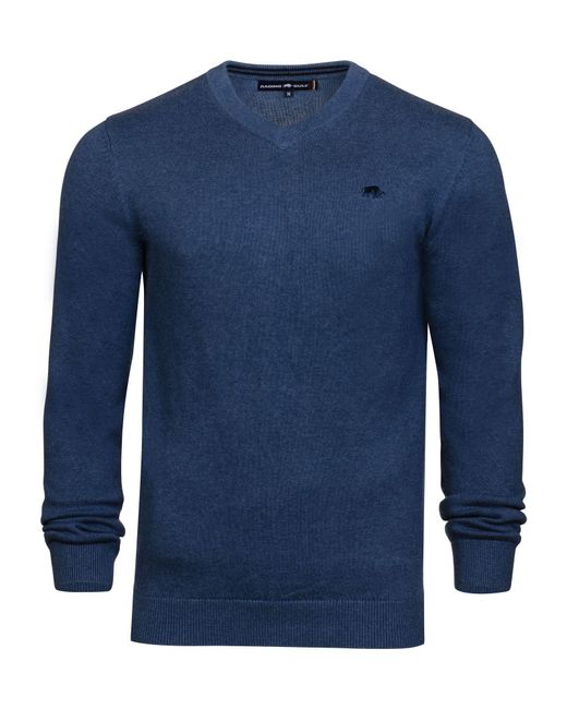 Raging Bull | Blue V-neck Cotton Cashmere Jumper for Men | Lyst