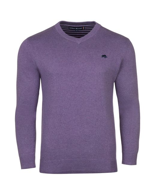 Raging Bull | Purple V-neck Cotton Cashmere Jumper for Men | Lyst