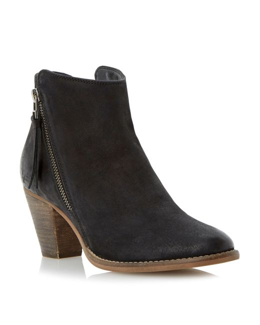 Dune | Black Pollie Leather Ankle Boots | Lyst