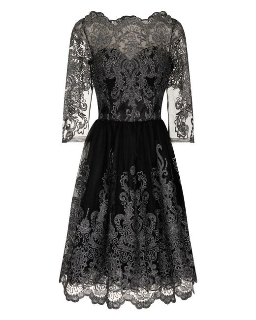Chi Chi London   Metallic Lace Tea Dress   Lyst