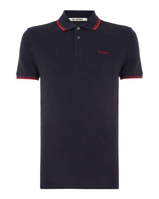Ben Sherman | Blue Block Font Pique Polo Shirt for Men | Lyst