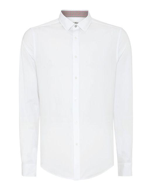 Ben Sherman | White Stretch Poplin Long Sleeve Shirt for Men | Lyst