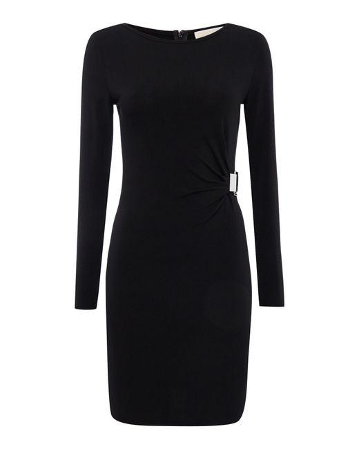 Michael Kors | Green Long Sleeve Jersey Buckle Tie Dress | Lyst