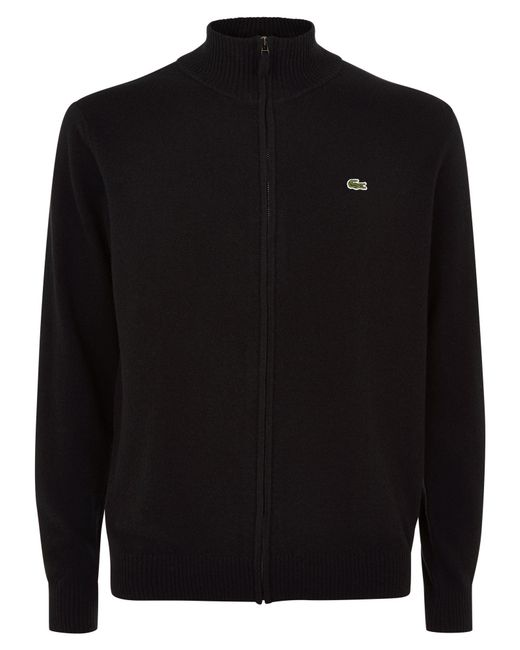 Lacoste | Black Full Zip High Collar Sweater for Men | Lyst