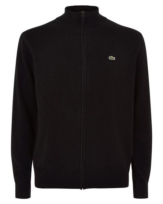 Lacoste | Black Full Zip High Collar Sweater for Men | Lyst