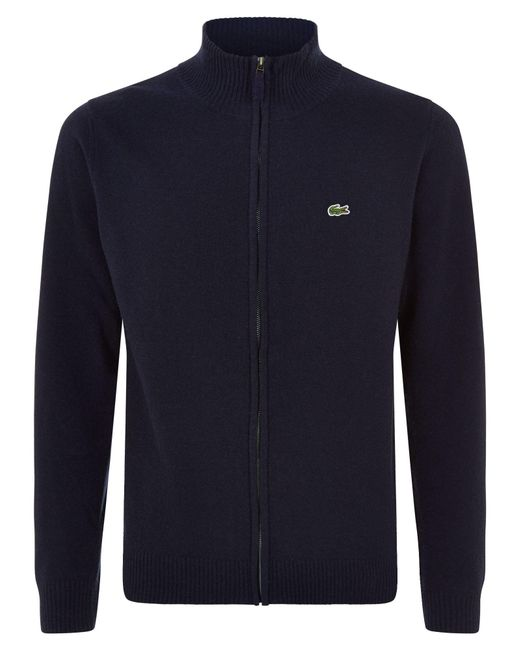 Lacoste | Blue Full Zip High Collar Sweater for Men | Lyst