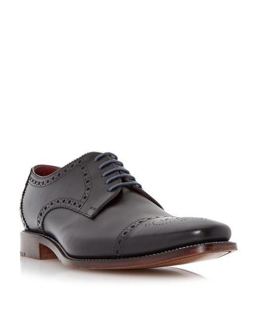 Loake | Black Foley Brogue Toecap Leather Gibson Shoes for Men | Lyst