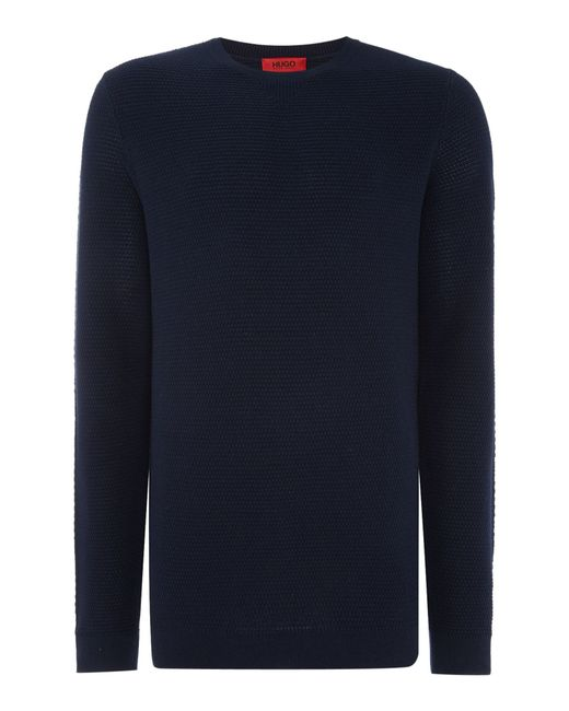 Hugo Sorito Cotton And Silk Mix Textured Crew Neck in Blue for Men ...