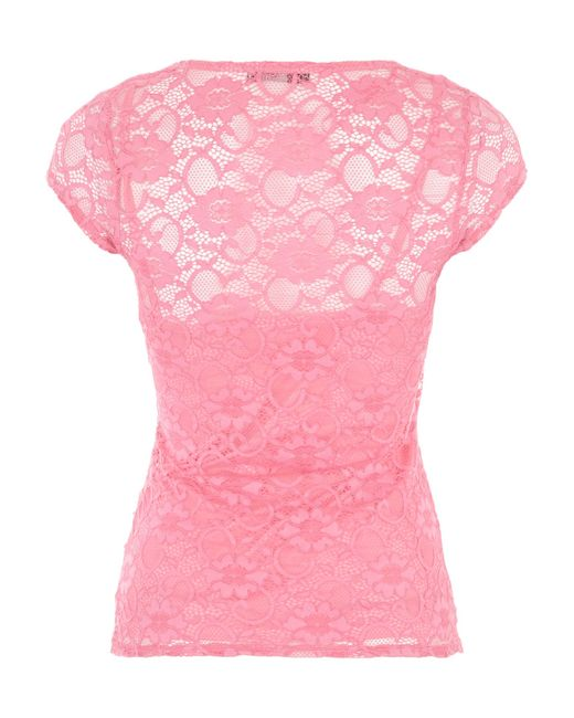 Jane norman lace wrap style t shirt in pink lyst for Wrap style t shirts