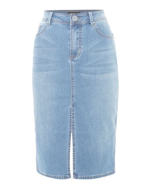 lost ink denim skirt with front split in blue lyst