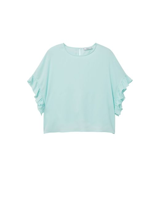Mango | Green Ruffled Sleeve Blouse | Lyst