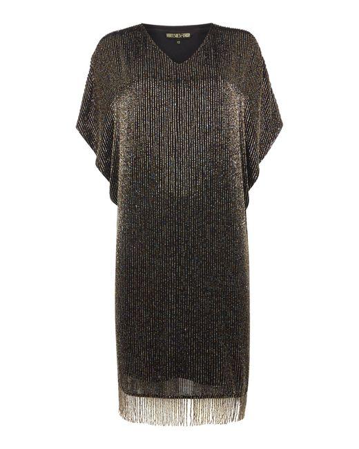 biba luxe fully beaded tassel detail dress in black lyst