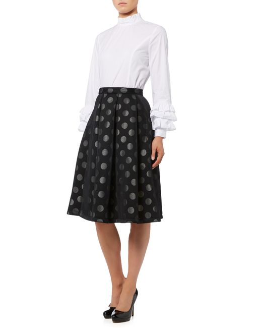 lost ink polka dot high waisted skirt in black lyst