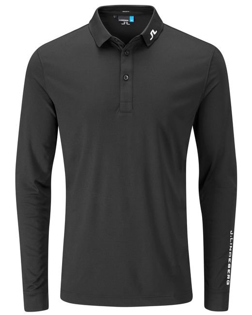J.Lindeberg | Black Tour Tech Long Sleeve Polo for Men | Lyst