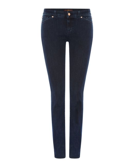 7 for all mankind cristen mid rise skinny jean in blue lyst. Black Bedroom Furniture Sets. Home Design Ideas
