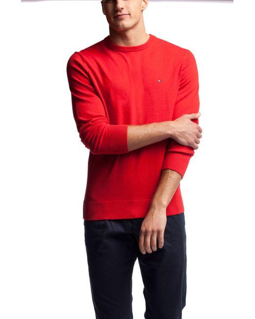 Tommy Hilfiger | Red Pima Cotton-cashmere Jumper for Men | Lyst