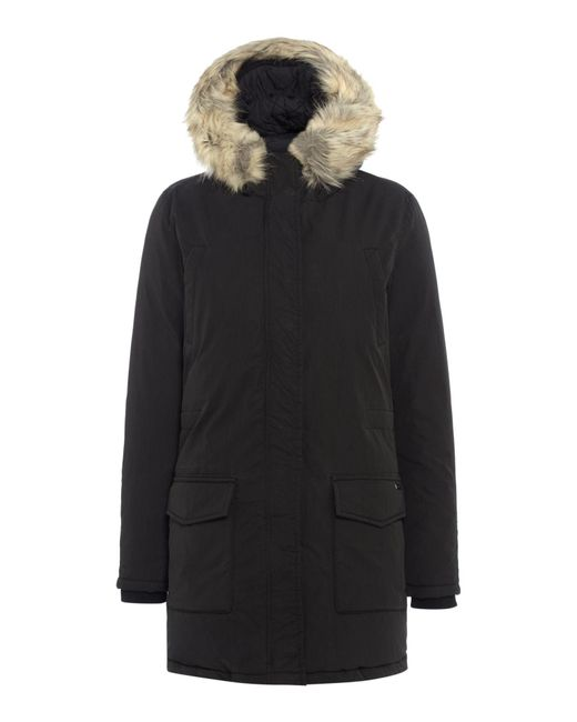 maison scotch hooded down parka with removable faux fur in black lyst. Black Bedroom Furniture Sets. Home Design Ideas