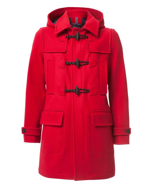 tommy hilfiger branch duffle coat in red lyst. Black Bedroom Furniture Sets. Home Design Ideas