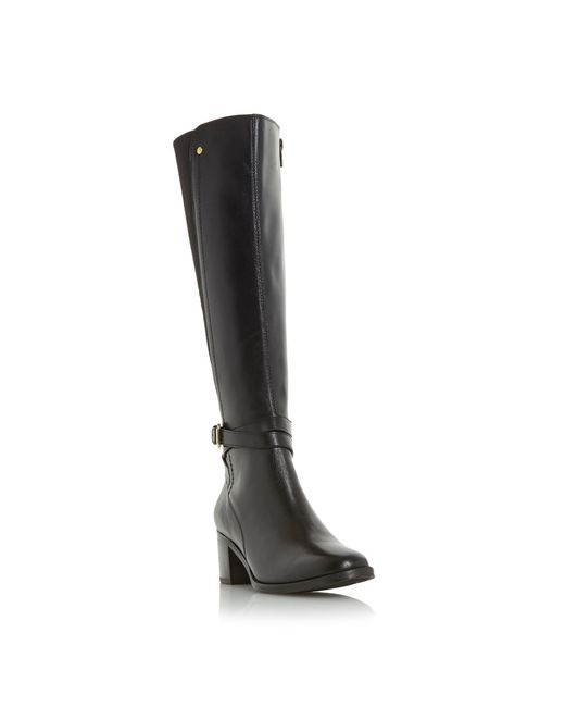 dune vivv stretch back knee high boots in black save 10