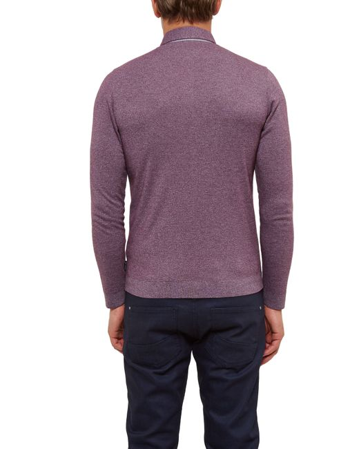 Ted baker salvi long sleeve woven polo shirt in purple for for Long sleeve purple polo shirt