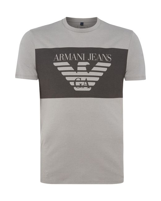 armani jeans regular fit large chest banner logo t shirt. Black Bedroom Furniture Sets. Home Design Ideas