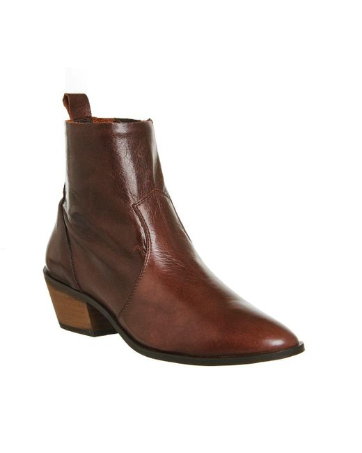 office leighton leather ankle boots in brown save 15 lyst