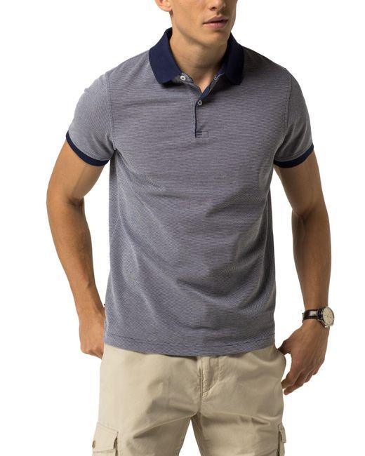 tommy hilfiger cotton slim fit polo in blue for men lyst. Black Bedroom Furniture Sets. Home Design Ideas