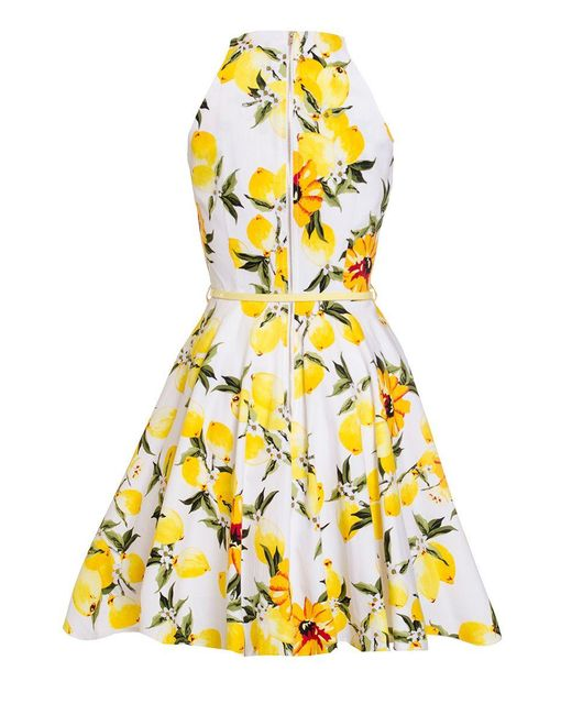 Quiz Lemon Print Skater Dress In Yellow Save 32 Lyst