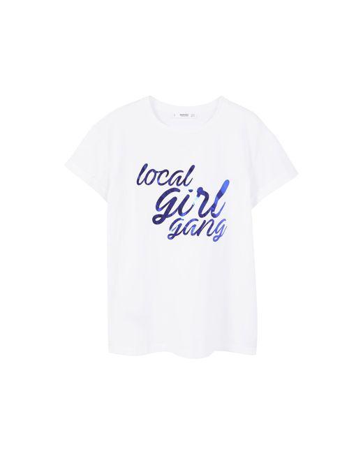 Mango | Blue Message Cotton T-shirt | Lyst