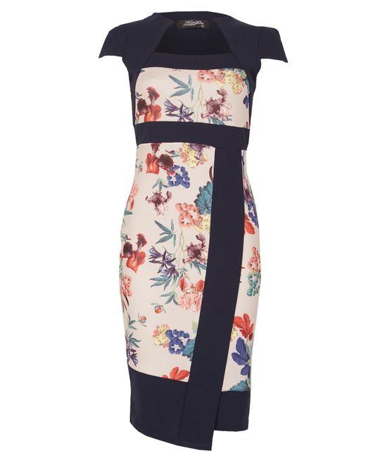 Feverfish | Blue Asymmetic Contrast Print Dress | Lyst