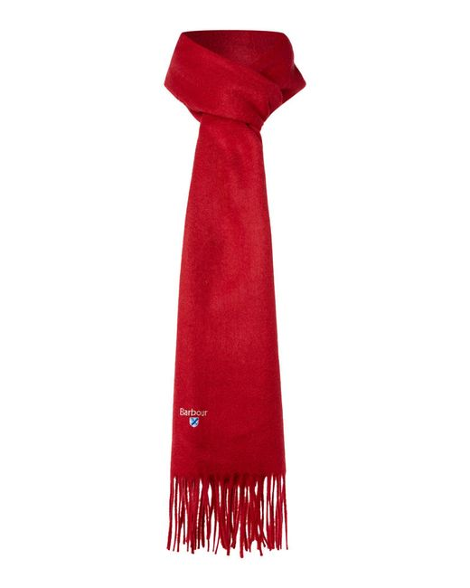 Barbour - Red Plain Lambswool Scarf for Men - Lyst