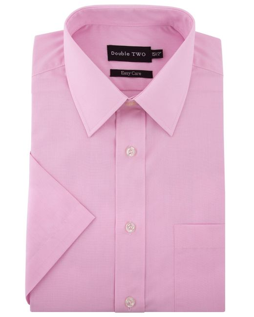 Double Two - Pink Plain Classic Fit Short Sleeve Shirt for Men - Lyst
