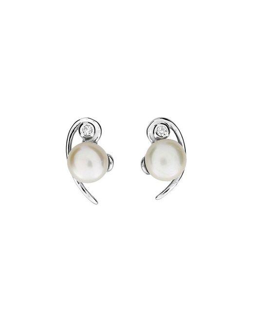 Azendi | Metallic Silver & Pearl Curve Studs | Lyst