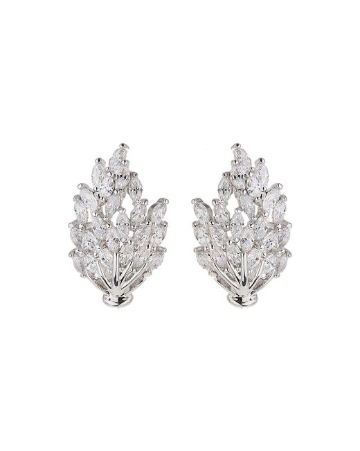 Mikey | White Cubic Leaf Design Stud Earring | Lyst
