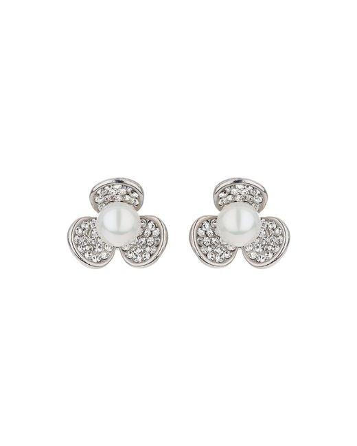 Mikey | Metallic Daisy Design Pearl Stud Earring | Lyst