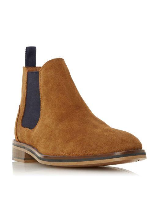 Dune Brown Merlin H Suede Chelsea Boots for men