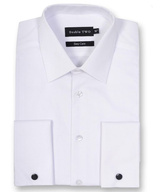 Double Two - White Classic Collar Marcella Rib Front Dress Shirt for Men - Lyst
