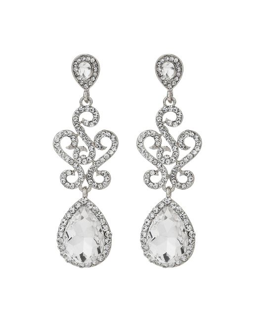 Mikey | White Twisted Filigree Oval Drop Earring | Lyst