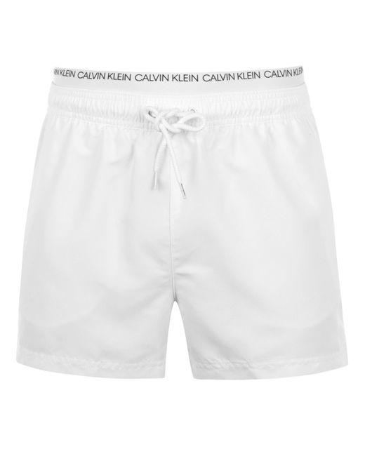 Calvin Klein White Calvin Mini Double Waistband Swim Shorts for men