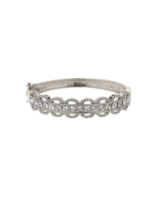 Mikey - Metallic Oval Design Link Crystal Stripe Cuff - Lyst