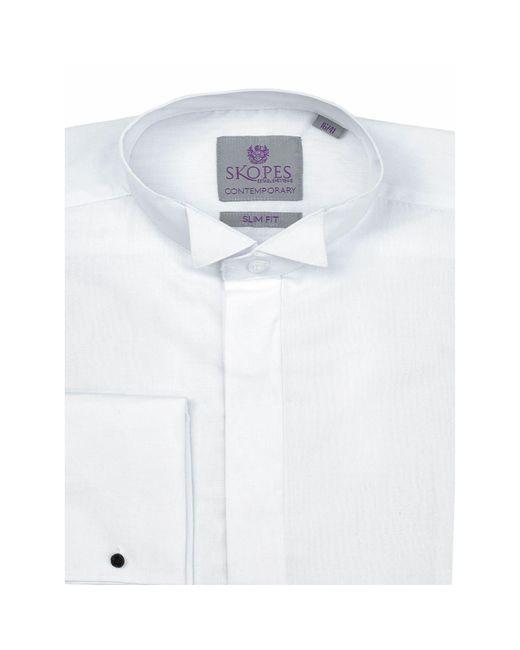 Skopes White Easy Care Slim Fit Dress Shirt for men