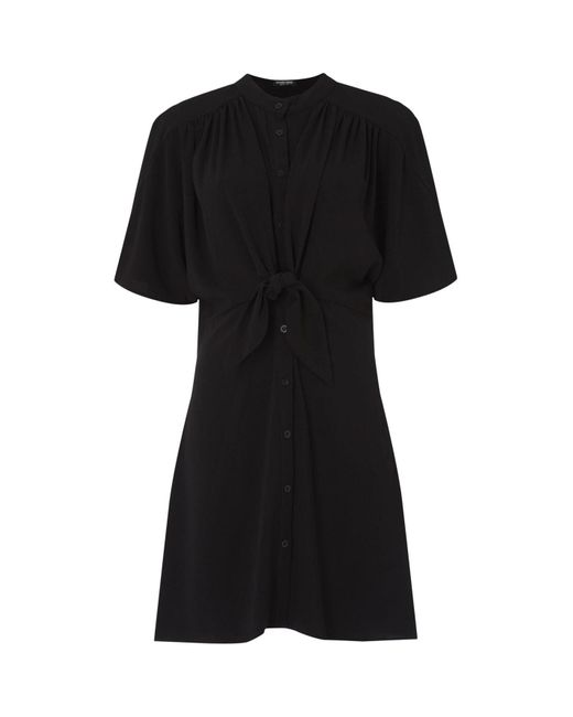 Fashion Union Black Shirt Dress With Tie Front