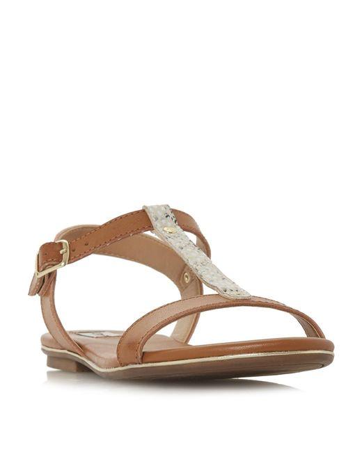 Dune - Brown Ladder T Bar Sandals - Lyst