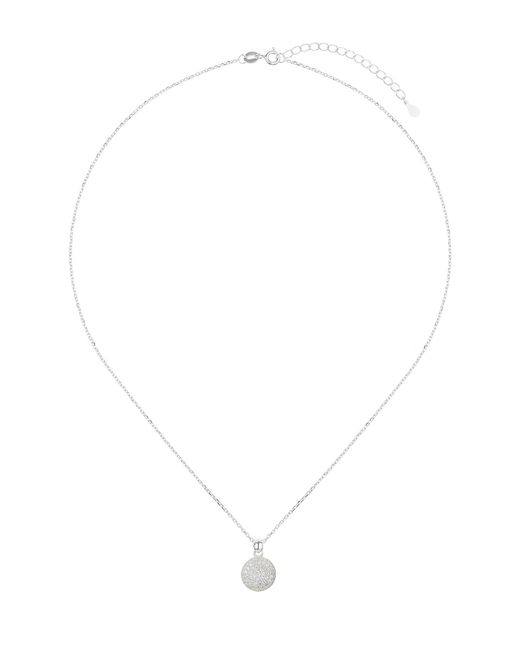 Mikey - Metallic Silver Disc Crystal Embed Pendant - Lyst