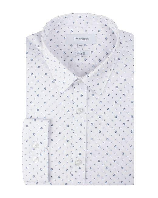 Limehaus - Men's White Tile Print Forward Point Shirt for Men - Lyst